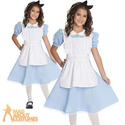 Kids Girls Alice Costume Traditional Wonderland Fancy Dress Book Day Week Outfit