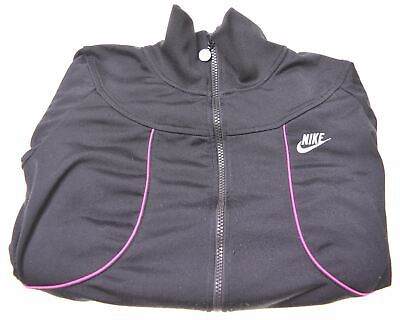NIKE Girls Tracksuit Top Jacket 8-9 Years Small Black Polyester  AZ05