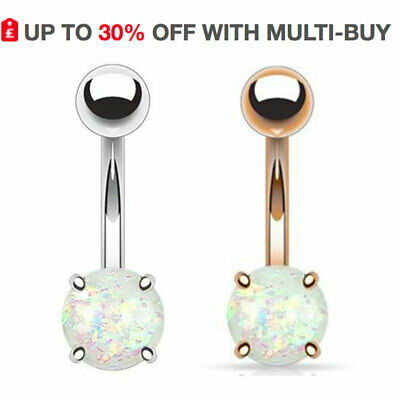 Glitter Opal Navel Ring Belly Button Bars Prong Set Silver Rose Gold UK