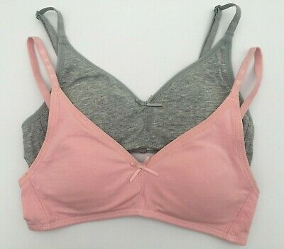 M&S Angel First Bralet 2 Pack Grey/Pink Non-Wired Cotton Rich Sizes 28AA to 36AA