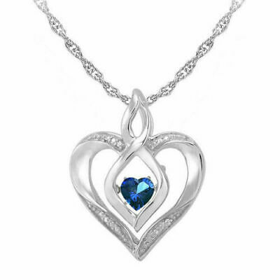 """14K White Gold Over Love In Motion Heart Blue Sapphire Pendant Necklace 18""""Chain"""