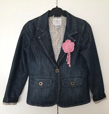 Girls 7 - 8 Next Denim Lined Fitted Quirky Jacket Pink Rosette Pockets