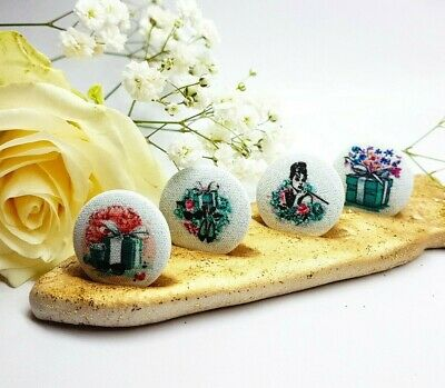 Set 8 Handmade Tiffany style Art Buttons Flowers Fashion Gift Box Party Crafts