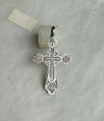 "RARE SOLID SILVER ""84"" ANTIQUE 19th CENTURY ORNATE HAND-CARVED ORTHODOX CROSS"