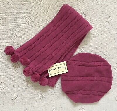 Darcy Brown Knitted Fuschia Beret and Scarf 12 Months. Never Worn.