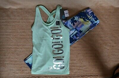 NWT GapFit Girl's Medium (8-9) Capri Length Sport Leggings & Sport Top Outfit