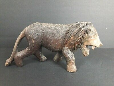 Vintage Hand Carved Wood Lion Statue Sculpture Figurine