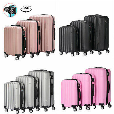 """3 Piece Luggage Carry On Set Trolley Suitcase Travel Spinner ABS+PC 20"""" 24"""" 28"""""""
