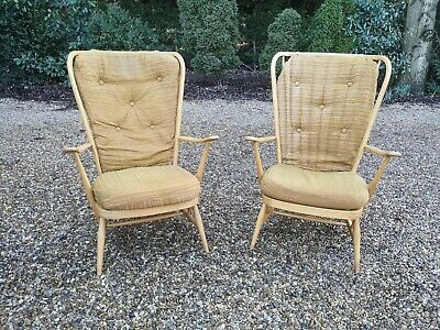 2 x Retro Mid Century Blonde Ercol Evergreen Chairs  *FREE DELIVERY*