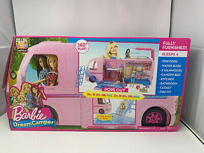 NEW Mattel FBR34 -Barbie DreamCamper Adventure Camping Playset with Accessories
