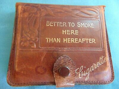 Lovely Antique Arts & Crafts Cigarette Case Better To Smoke Here Than Hereafter
