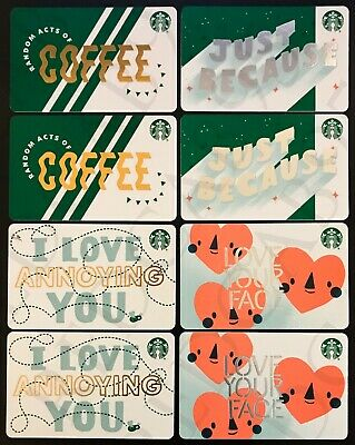 NEW Starbucks 2019 2020 SWIPE and SCAN PRINT MARK Gift Card - Lot of 8 Cards
