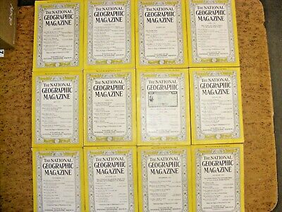 Vintage 1944 Full Year 12 NATIONAL GEOGRAPHIC Magazine 1940's Complete Lot 40's