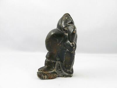 Old Primitive Eskimo Inuit Unusual Soapstone Carving Sculpture Of Man Eating