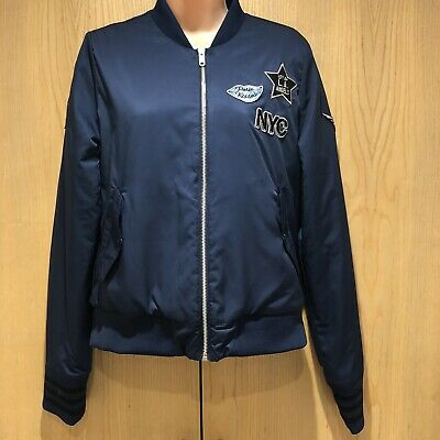 Adidas Neo Bomber Jacket Ladies Girls Size M Navy Blue NYC Paris London L.A Coat