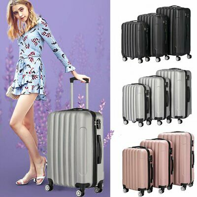 3 Piece Luggage Set Travel Trolley Suitcase Hardshell ABS Nested Spinner w/Lock