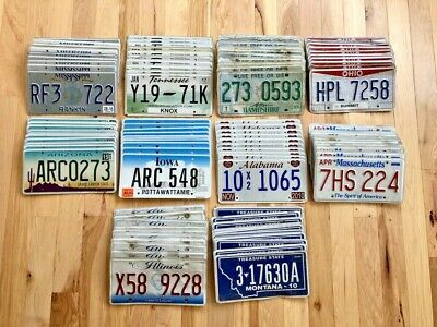 100 License Plates- 10 of Each State in Craft Condition