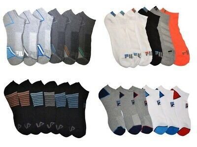 6 Pairs Fila Men's Athletic Classic Sport Absorb Dry Gym No Show Socks Size 6-12