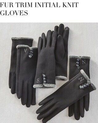 Mud Pie Monogram Winter Gloves With The Letter C Smart Screen Gloves Black NEW