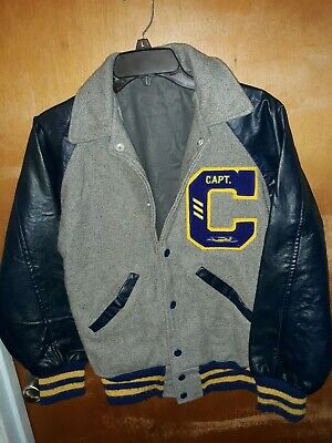 Letter Jacket Captain Swimming C Navy Blue & Yellow/Gold Letterman Girls Youth
