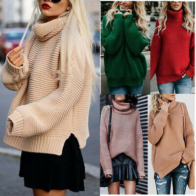 Womens Winter Turtle Neck Baggy Chunky Knitted Oversized Sweater Jumper Tops AU