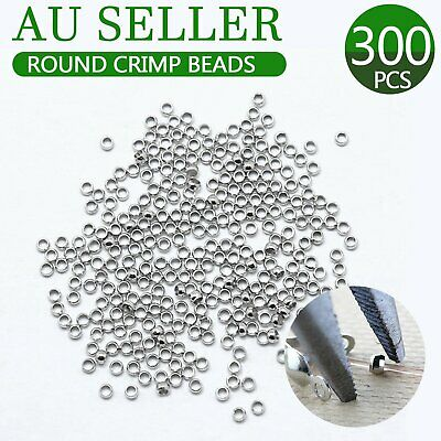 Silver Round Crimp Beads Jewellery Finding 2 mm for tiger tail 300 pk crimps set