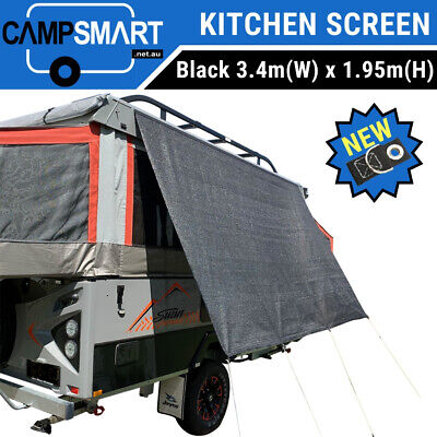 3.4m XD Black Kitchen Awning Privacy Screen Sunscreen, Jayco Swan Camper Trailer