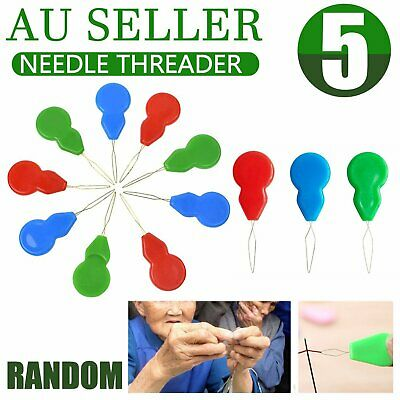 5pcs Needle Threader Stronger Than Other Plastic Brands Bow Wire Slivery Hand