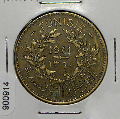 Tunisia 1941 AH 1360 2 Francs  900914 combine shipping