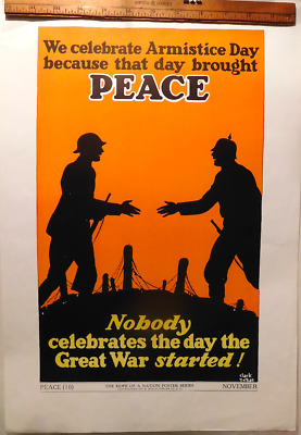 HOPE OF NATION POSTER German AMERICAN Soldier WWI Armistice Day '29 ART DECO WPA