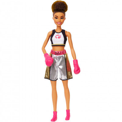 Barbie GJL64 You Can Be Anything Brunette Boxer Doll with Pink Gloves