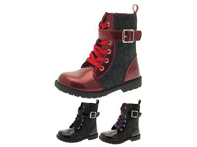 Girls Lace Up Militarily Style Ankle Boots Kids Faux Leather Winter Shoes Size