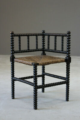 Antique Arts & Crafts Bobbin Turned Rush Seat Bedroom Occasional Corner Chair