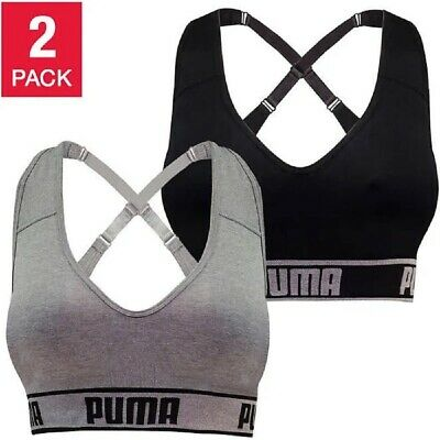 PUMA Women's Seamless Sports Bra Removable Cups - Adjustable Straps Moisture Wic