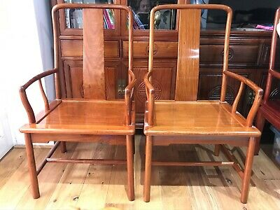A pair of 20 Century Chinese Huanghuali Chairs Vintage Oriental