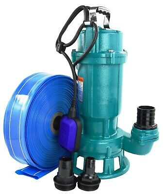 Submersible Sewage DIRTY Water Drain Septic Sump Cesspool Grinding Pump + Hose