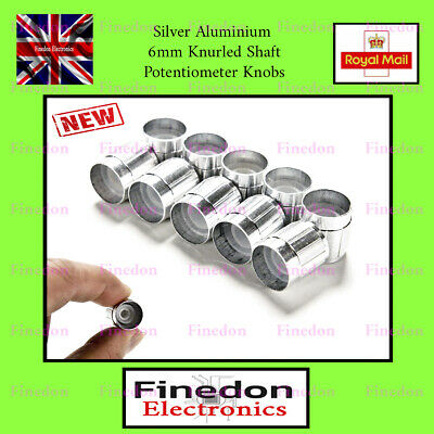 Silver Aluminium 6mm Knurled Shaft Potentiometer Volume Control Knobs UK Seller