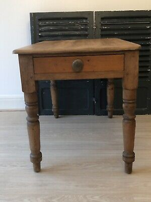 Small Victorian Vintage Pine Kitchen Table Farmhouse Rustic