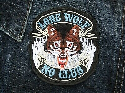 "Lone Wolf No Club Applique Patch 4"" Embroidered Badge Sewn Iron On Shirt Jacket"