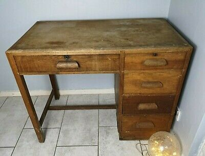 Vintage Retro 1950's Mid Century Oak Wood Teachers Desk Office Single Pedestal
