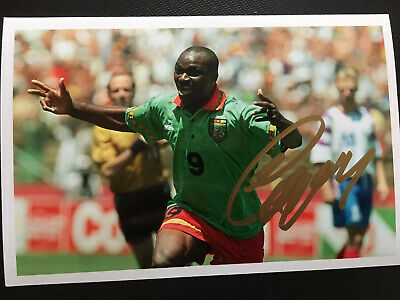 """Roger Milla Hand Signed Autograph Photo 6x4"""" - Cameroon @ 1990 World Cup"""