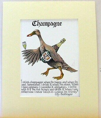 Simon Drew Print Wine List Mounted Signed FUNNY Play on Words Duck Art Gift