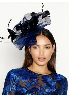 Royal  blue fascinator headband With Black Feather Tips.