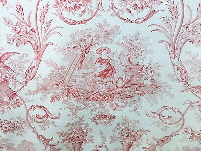 Antique French Floral Printed Toile Red and White Scrolls Roses Birds Fox
