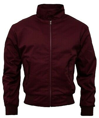 Men's Harrington Jacket Burgundy Bomber Tartan Lined Zip Front Mod Skins Ska