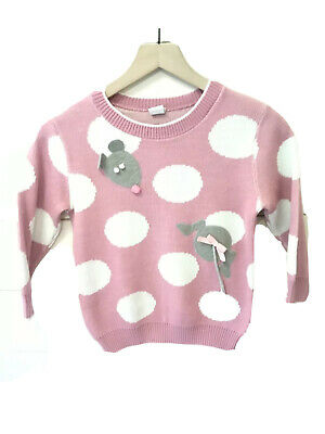 ~VINTAGE~ *RUTH SCHARF* Girl's Medium Sweater With Mouse Appliques