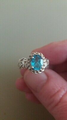QVC Blue Topaz Gemstone Byzantine Ring Real Solid Sterling Silver Size 5