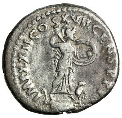 "Domitian AR Denarius ""Minerva Fighting, Owl Beside"" Rome RIC 788 Fine"