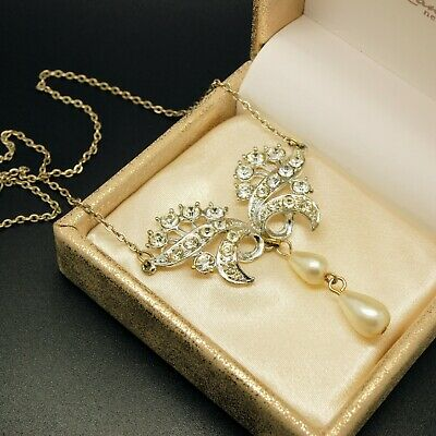 VINTAGE JEWELLERY Gorgeous Silver Tone Clear Paste Art Deco Butterfly NECKLACE