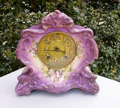 Antique Gilbert #423 Antique Porcelain Clock Purple Parts Repair